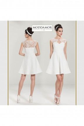 فستان سهرة قصير - ابيض