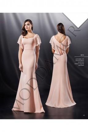 فستان سهرة طويل كم كشكش