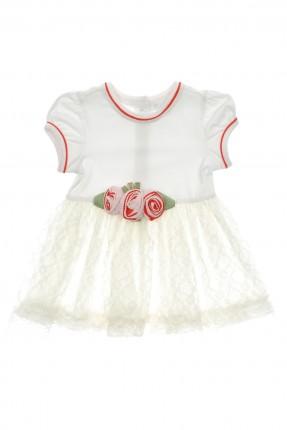 فستان بيبي بناتي مع ورد - ابيض