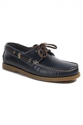 حذاء جلد رجالي - كحلي