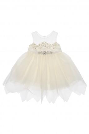 فستان بيبي بناتي نفش - ابيض