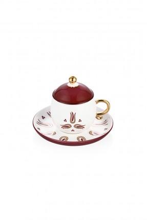 طقم فنجان قهوة مع غطاء خمري / 6 اشخاص /