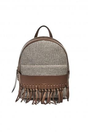 حقيبة ظهر نسائية جلد - بيج