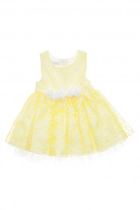 فستان بيبي بناتي مع ورود - اصفر