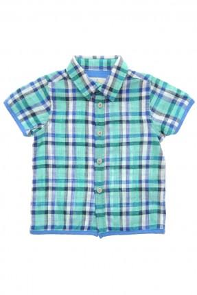قميص بيبي ولادي كاروهات - ازرق
