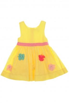فستان بيبي بناتي منقش - اصفر