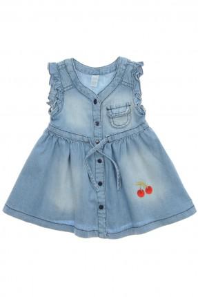 فستان بيبي بناتي مع طبعة كرزة - ازرق