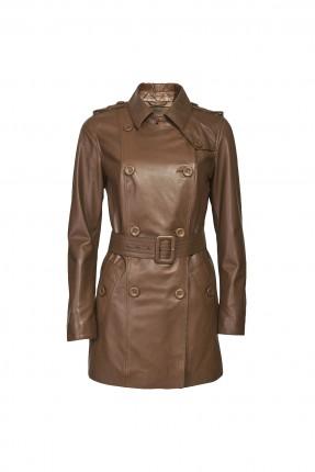 معطف جلد طويل نسائي - بني