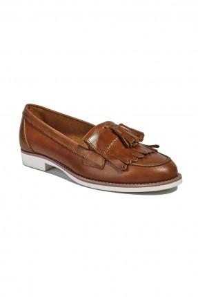 حذاء جلد نسائي - بني