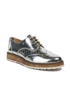 حذاء جلد نسائي - فضي