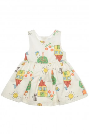 فستان بيبي بناتي مزخرف - ابيض