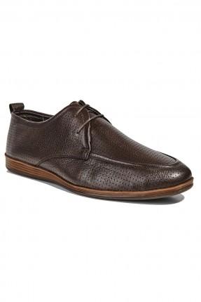 حذاء جلد رجالي - بني