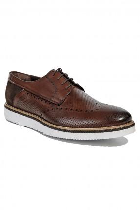 حذاء رجالي مع رباطات - بني
