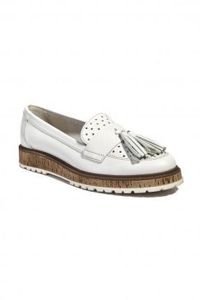 حذاء جلد نسائي - ابيض