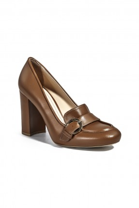 حذاء نسائي جلد مع كعب