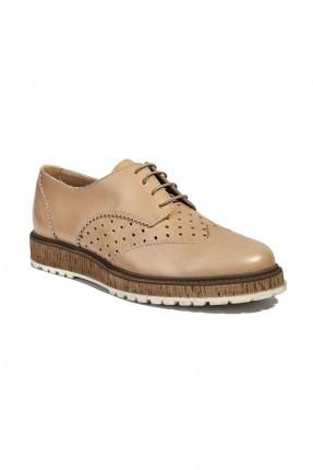 حذاء جلد نسائي - بيج