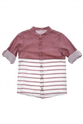 قميص اطفال ولادي كم طويل - خمري