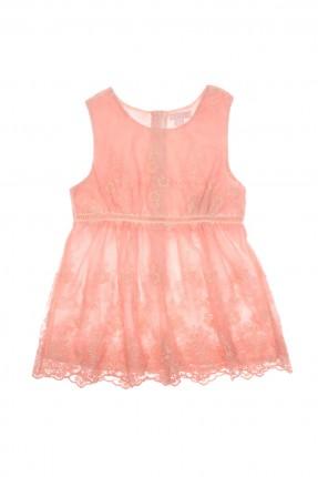 فستان اطفال بناتي حفر - وردي