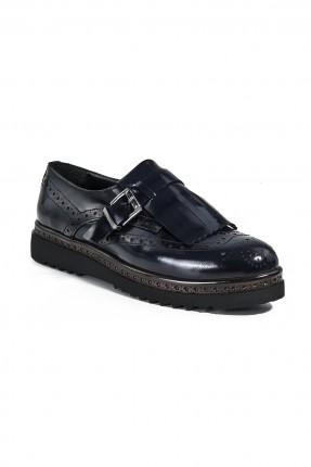 حذاء جلد نسائي - كحلي