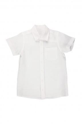 قميص نصف كم اطفال ولادي - ابيض