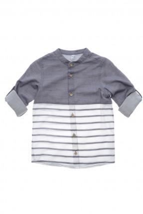 قميص اطفال ولادي كم طويل - كحلي