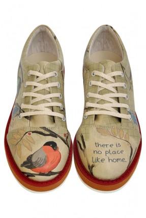 حذاء نسائي طبعة طائر
