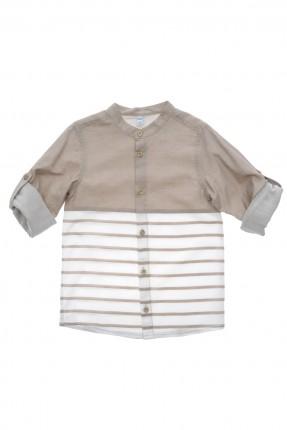 قميص اطفال ولادي كم طويل - بيج