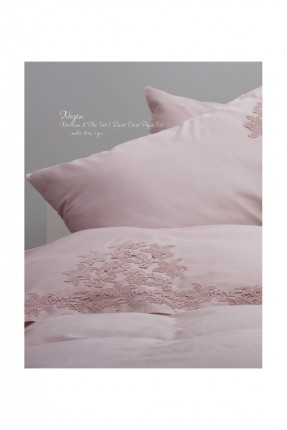 طقم غطاء سرير عرائسي دانتيل مع بطانية - وردي