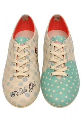 حذاء نسائي - بيج وازرق