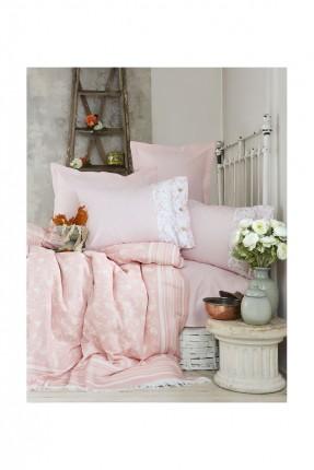 طقم غطاء سرير فردي / 3 قطع / وردي