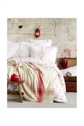طقم غطاء سرير فردي منقوش مع بطانية