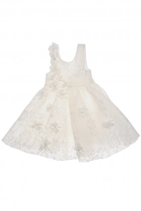 فستان اطفال بناتي شيال مع ورود - ابيض