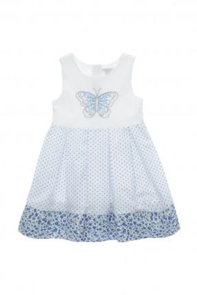 فستان اطفال بناتي منقش - ابيض