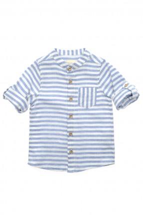 قميص اطفال ولادي مقلم - زرق