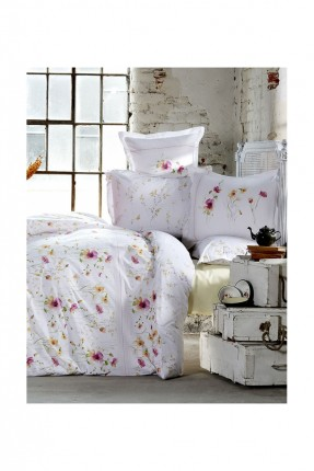 طقم غطاء سرير مزدوج رسومات / 3 قطع / ابيض
