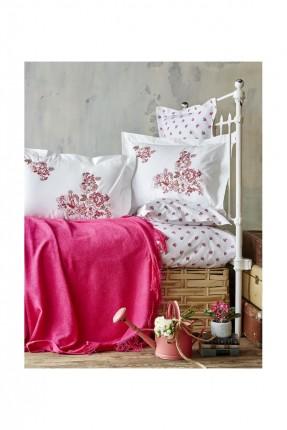 طقم غطاء سرير مزدوج منقوش / 4 قطع / فوشي