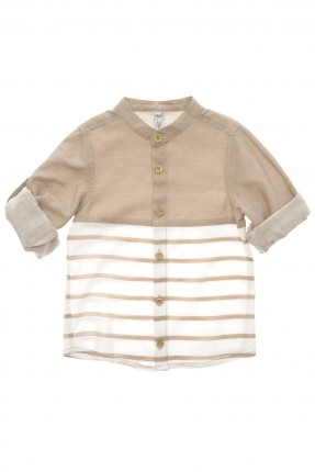 قميص اطفال ولادي مقلم - بيج