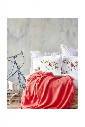 طقم غطاء سرير مزوج ملون / 4 قطع / احمر