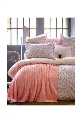 طقم غطاء سرير مفرد مع بطانية وردي / 4 قطع /