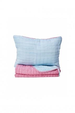 غطاء سرير مفرد وجهين / ازرق - وردي /