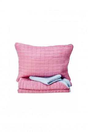 غطاء سرير مزوج بوجهين / وردي - تركواز /