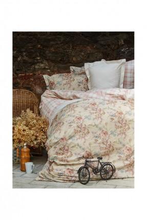 طقم غطاء لحاف سرير مفرد برسومات ورد  - بيج
