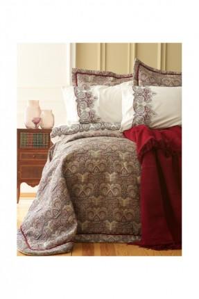 طقم غطاء سرير عرائسي فاخر مزخرف مع بطانية - خمري