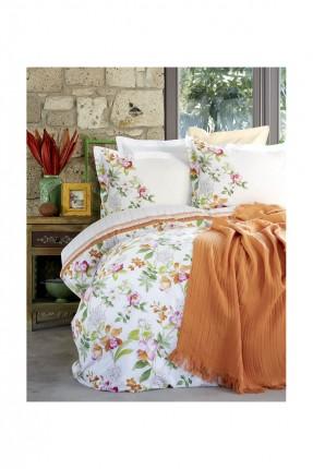 طقم غطاء سرير مفرد مع بطانية - برتقالي