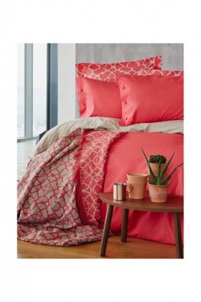 طقم غطاء سرير مفرد مع بطانية / 5 قطع / احمر