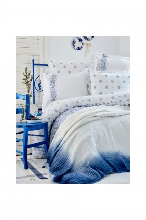 طقم غطاء سرير مزوج مع بطانية / 4 قطع / ابيض