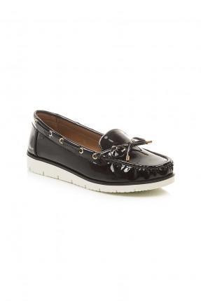 حذاء نسائي جلد مع بكلة - اسود