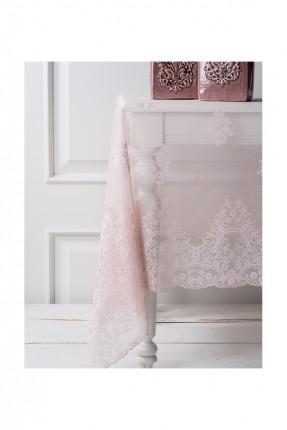 غطاء طاولة وردي دانتيل / 160 * 260 سم /