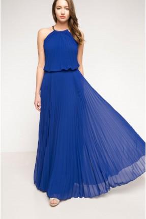 فستان سهرة ازرق طويل - بولستر
