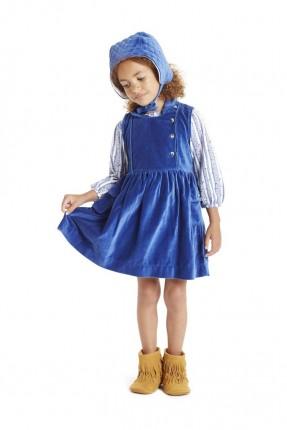 فستان اطفال بناتي مخمل - ازرق